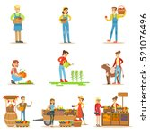 farmers men and women working... | Shutterstock .eps vector #521076496