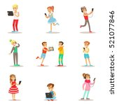children and gadgets set of... | Shutterstock .eps vector #521077846