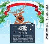 reindeer cartoon lean on and... | Shutterstock .eps vector #521086366