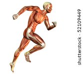 Muscle man running study - stock photo