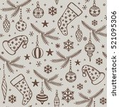 seamless pattern with christmas ... | Shutterstock .eps vector #521095306