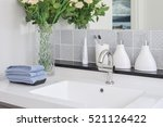 washbasin with faucet and... | Shutterstock . vector #521126422