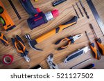 workshop set. tools on the... | Shutterstock . vector #521127502