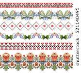 vector set of six seamless... | Shutterstock .eps vector #521140495