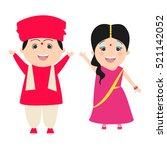 boy and girl in indian costumes.... | Shutterstock .eps vector #521142052