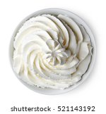 bowl of whipped cream isolated... | Shutterstock . vector #521143192