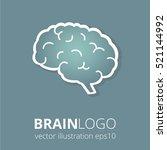 brain logo silhouette on dark... | Shutterstock .eps vector #521144992
