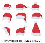 set of santa claus red hat in... | Shutterstock .eps vector #521145682
