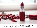 open red lipstick with necklace ... | Shutterstock . vector #521148718