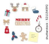 christmas round frame template... | Shutterstock .eps vector #521154592