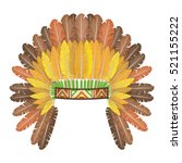 indian headdress with feathers... | Shutterstock .eps vector #521155222
