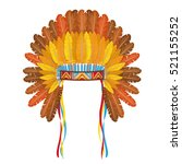 indian headdress with feathers... | Shutterstock .eps vector #521155252