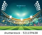 sports stadium with lights ... | Shutterstock .eps vector #521159638