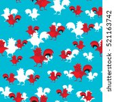 pattern with red cocks and... | Shutterstock .eps vector #521163742