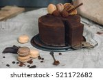 chocolate cake covered with... | Shutterstock . vector #521172682