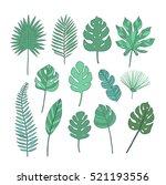 set of tropical leaves | Shutterstock .eps vector #521193556