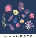 set of tropical leaves | Shutterstock .eps vector #521193562