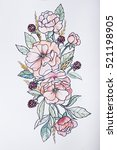 sketch of beautiful flowers on... | Shutterstock . vector #521198905