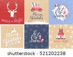 set of 6 christmas and new year ... | Shutterstock .eps vector #521202238