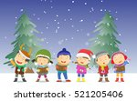happy kids singing christmas... | Shutterstock .eps vector #521205406