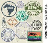 travel stamps or symbols set ... | Shutterstock .eps vector #521206516