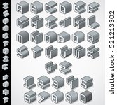 3d isometric font. letters and... | Shutterstock .eps vector #521213302