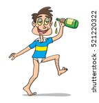 drunk man with bottle of... | Shutterstock .eps vector #521220322