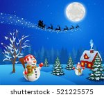 baground christmas with snowman | Shutterstock . vector #521225575