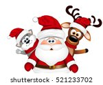 Stock photo christmas card santa with reindeer and cat 521233702