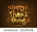 happy thanksgiving day line art ... | Shutterstock .eps vector #521235358