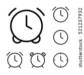 thin line clock  alarm icons on ...