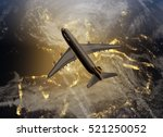 airplane flying above europe | Shutterstock . vector #521250052