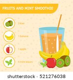 fruit and mint smoothie recipe... | Shutterstock .eps vector #521276038