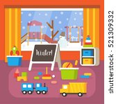 kindergarten classroom at... | Shutterstock .eps vector #521309332