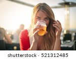 Nice Girl Drinking A Beer