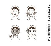steps how to apply facial mask ... | Shutterstock .eps vector #521321152