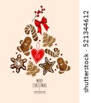christmas icons elements in... | Shutterstock .eps vector #521344612
