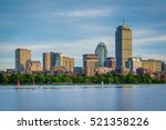 Stock photo the boston skyline and charles river seen from cambridge massachusetts 521358226