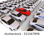 Stock photo  d render image representing a fleet of cars with a red one in the middle unique car 521367898