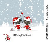 happy couple in winter forest.... | Shutterstock .eps vector #521392222