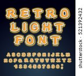 retro light font. glowing... | Shutterstock .eps vector #521392432