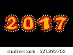2017 with lamps. garland for... | Shutterstock .eps vector #521392702