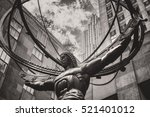 Small photo of Vintage toned image of the Statue of Atlas in New York City's Fifth Avenue