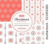 set of christmas seamless... | Shutterstock .eps vector #521403382