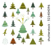 christmas tree icon set. xmas... | Shutterstock .eps vector #521404096