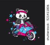 cute panda on a motorcycle.... | Shutterstock .eps vector #521411806