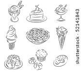 vector sketch set of sweets | Shutterstock .eps vector #52141843