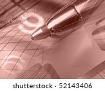 pen  ruler and buildings... | Shutterstock . vector #52143406