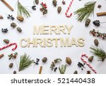 merry christmas made of wooden... | Shutterstock . vector #521440438