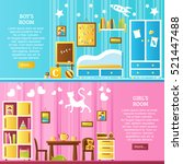 baby room two horizontal... | Shutterstock .eps vector #521447488